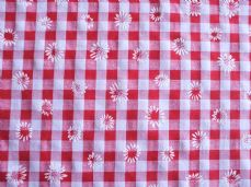 "1/4"" Daisy Gingham Quality Polycotton Fabric in Red"